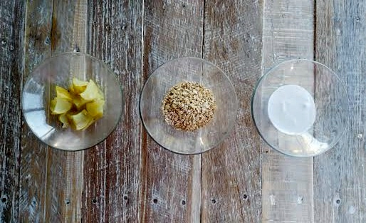 Baked apple, raw rolled oats and a shot of coconut cream all looking beautiful!
