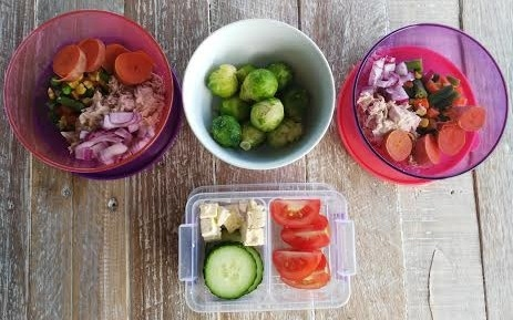 Each bowl consists of 1/2 a can of tuna with organic mayo, half a baby sweet potato, one slice of raw red onion, mixed veg with brussel sprouts (if you're brave) with cucumber, tomato and feta as a snack for that day.